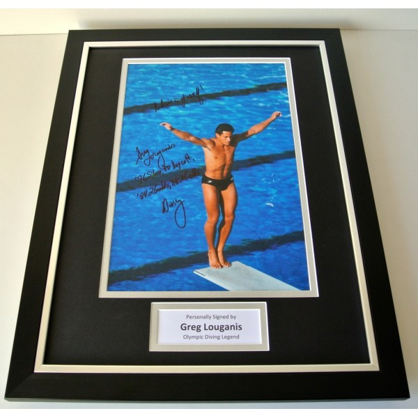 Greg Louganis SIGNED FRAMED Photo Autograph 16x12 display Olympic Diving & COA