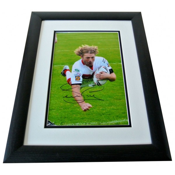 Sean Long SIGNED FRAMED Photo Autograph 16x12 LARGE display St helens Rugby COA  PERFECT GIFT