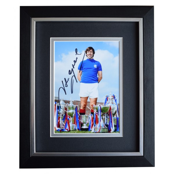 John Greig SIGNED 10x8 FRAMED Photo Autograph Display Rangers Football   AFTAL  COA Memorabilia PERFECT GIFT