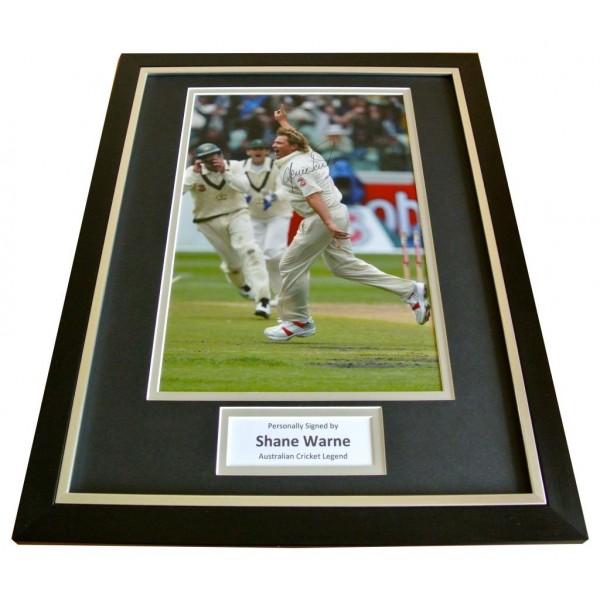 SHANE WARNE Signed FRAMED Autograph 16x12 Photo Display CRICKET PROOF & COA     PERFECT GIFT