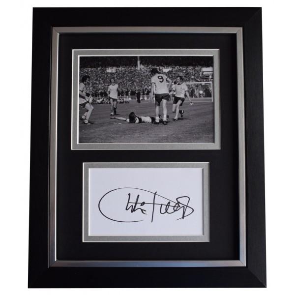 Charlie George SIGNED 10x8 FRAMED Photo Autograph Display Arsenal Football  AFTAL  COA Memorabilia PERFECT GIFT