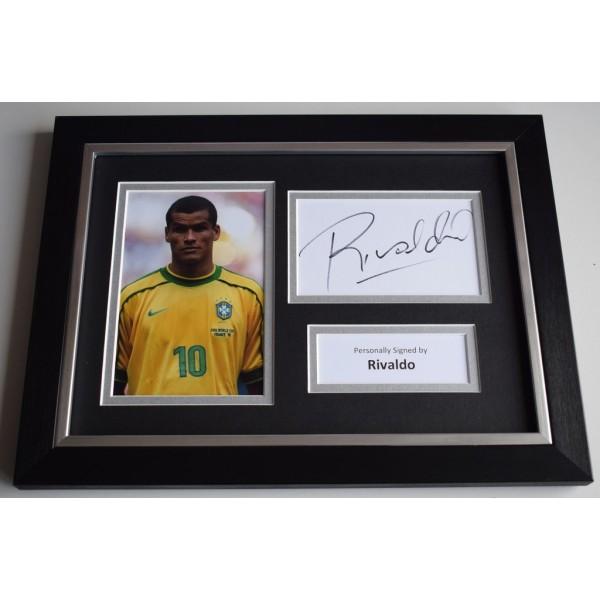 Rivaldo Signed A4 FRAMED photo Autograph display Brazil Football AFTAL & COA  PERFECT GIFT