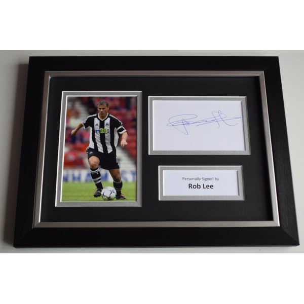 Rob Lee Signed A4 FRAMED photo Autograph display Newcastle United Football AFTAL & COA  PERFECT GIFT