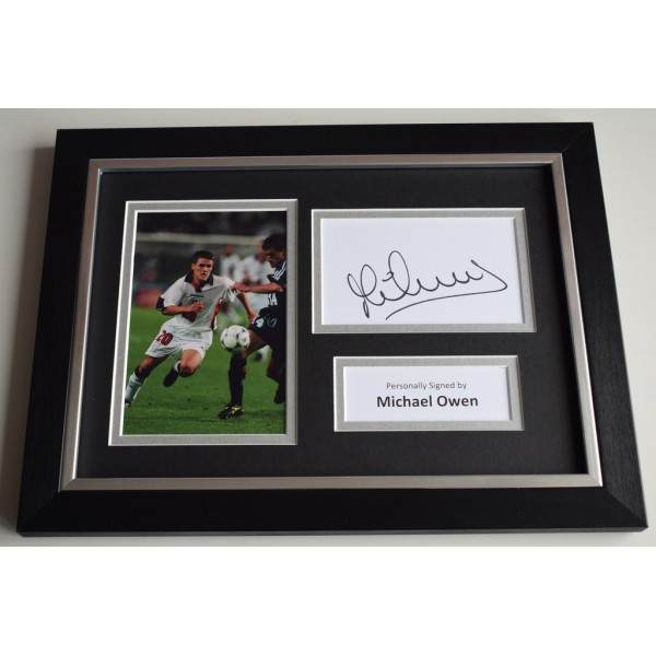 Michael Owen Signed A4 FRAMED photo Autograph display England Football AFTAL & COA  PERFECT GIFT