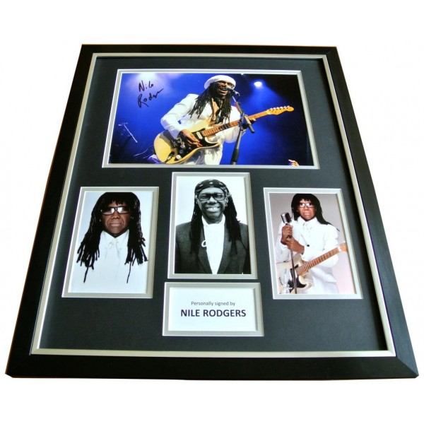 NILE RODGERS Signed FRAMED Huge Photo Autograph Display Chic Le Freak Music COA   PERFECT GIFT