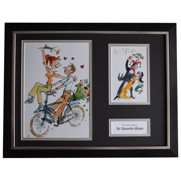 Quentin Blake Signed FRAMED Photo Autograph 16x12 display Roald Dahl Artist   AFTAL  COA Memorabilia PERFECT GIFT