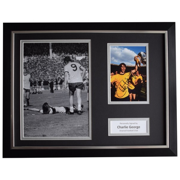 Charlie George Signed FRAMED Photo Autograph 16x12 display Arsenal Football   AFTAL  COA Memorabilia PERFECT GIFT