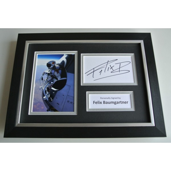 Felix Baumgartner SIGNED A4 FRAMED Photo Autograph Display Space Jump AFTAL & COA FILM Memorabilia PERFECT GIFT