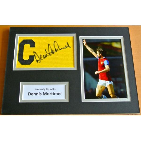DENNIS MORTIMER Signed Captains Armband A4 Photo Display Aston Villa PROOF COA AFTAL Memorabilia PERFECT GIFT