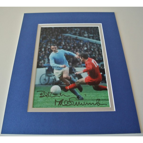 Mike Summerbee Signed Autograph 10x8 photo mount display Manchester City & COA
