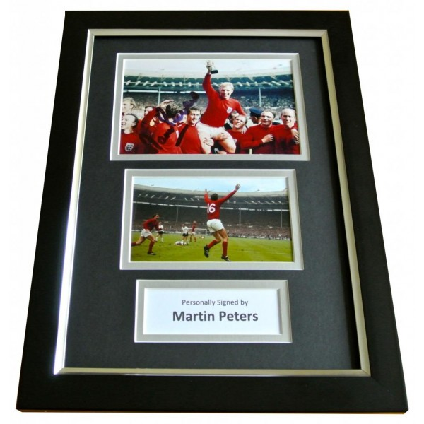 MARTIN PETERS Signed A4 FRAMED Photo Autograph Display ENGLAND World Cup 1966 PERFECT GIFT