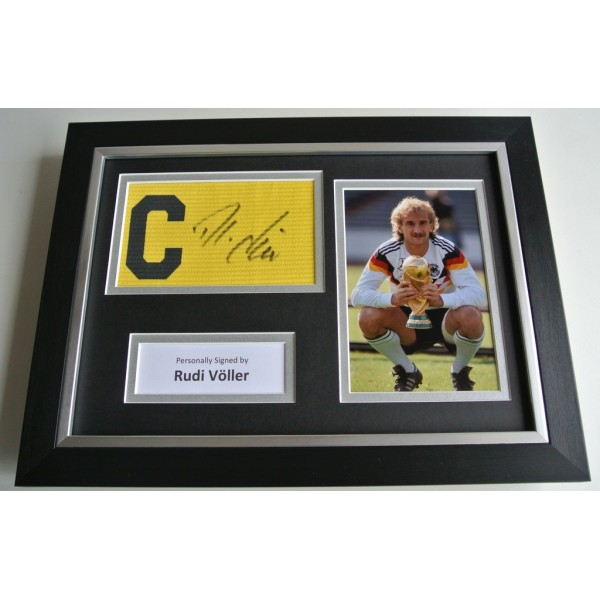 Rudi Voller SIGNED FRAMED Captains Armband A4 Photo Display Germany Football  COA & AFTAL SPORTS Memorabilia PERFECT GIFT