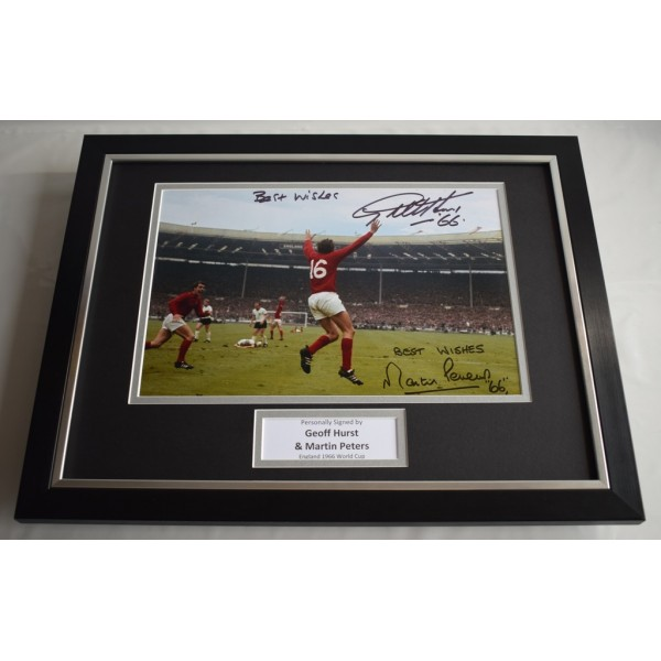 Martin Peters & Geoff Hurst SIGNED FRAMED Photo Autograph 16x12 display 1966  Memorabilia AFTAL & COA  PERFECT GIFT