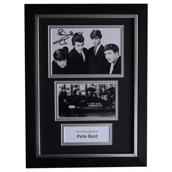 Pete Best SIGNED A4 FRAMED Autograph Photo Display Beatles Music  AFTAL  COA Memorabilia PERFECT GIFT