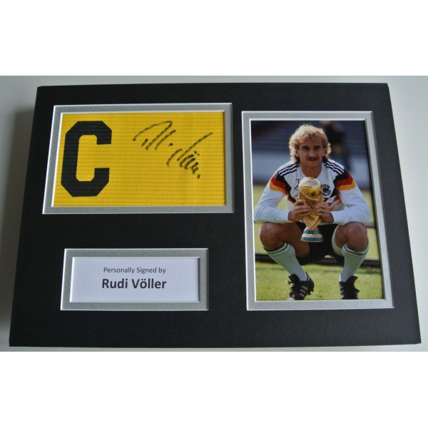 Rudi Voller Signed Captains Armband A4 photo display Germany Football COA & AFTAL SPORTS Memorabilia PERFECT GIFT