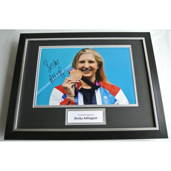 Rebecca Adlington SIGNED FRAMED Photo Autograph 16x12 display Olympics AFTAL COA SPORT Memorabilia PERFECT GIFT