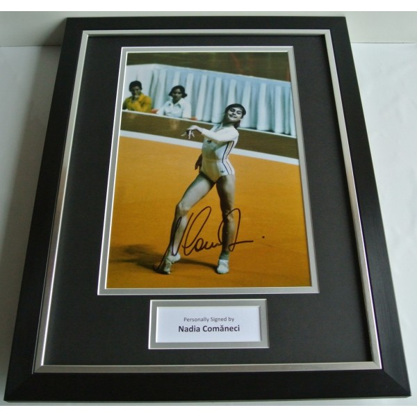 Nadia Comaneci SIGNED FRAMED Photo Autograph 16x12 display Olympic Gymnastics AFTAL COA SPORT Memorabilia PERFECT GIFT
