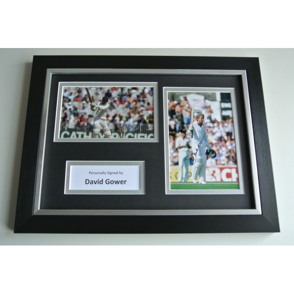 David Gower Signed A4 FRAMED photo Autograph display Cricket AFTAL & COA SPORT Memorabilia PERFECT GIFT