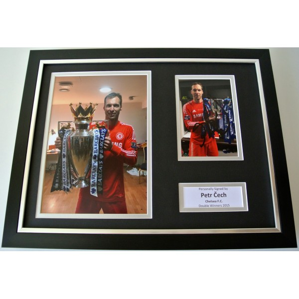 Petr Cech SIGNED FRAMED Photo Autograph 16x12 display Chelsea Champions 2015