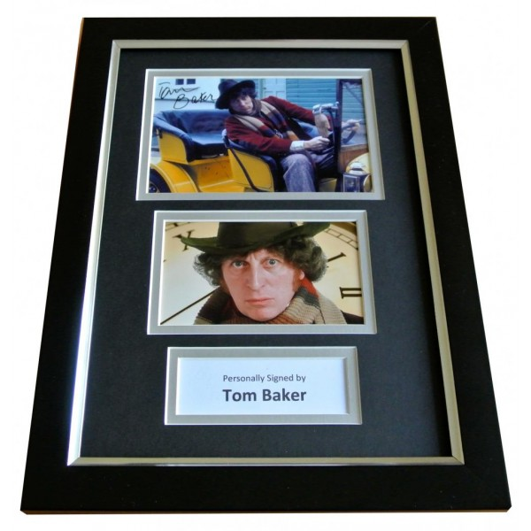 TOM BAKER Signed A4 FRAMED Photo Autograph Display DOCTOR WHO Memorabilia TV COA PERFECT GIFT