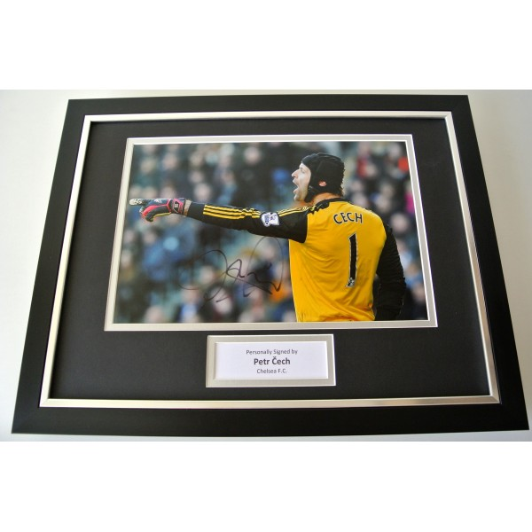 Petr Cech SIGNED FRAMED Photo Autograph 16x12 display Chelsea Football & COA