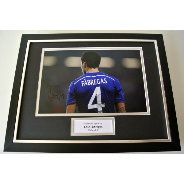 Cesc Fabregas SIGNED FRAMED Photo Autograph 16x12 display Chelsea Football & COA