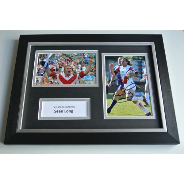 Sean Long Signed A4 FRAMED photo Autograph display St Helens Rugby AFTAL & COA SPORT Memorabilia PERFECT GIFT