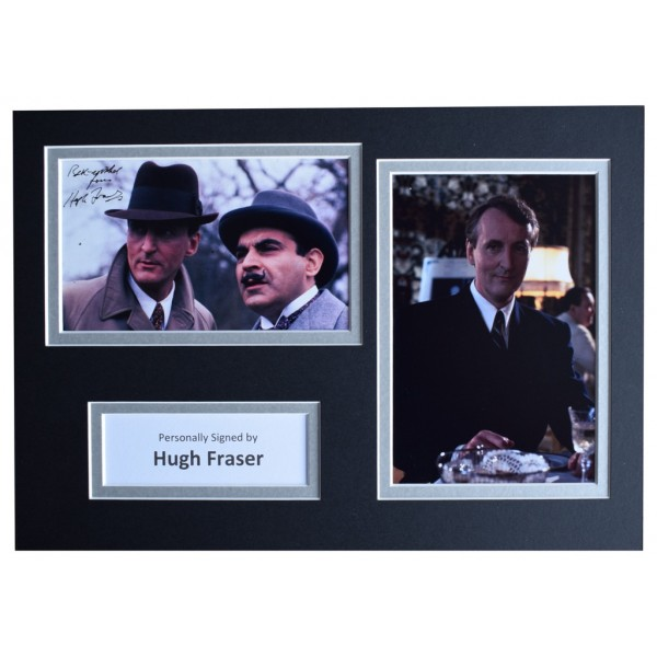 Hugh Fraser Signed Autograph A4 photo mount display Poirot TV   AFTAL  COA Memorabilia PERFECT GIFT