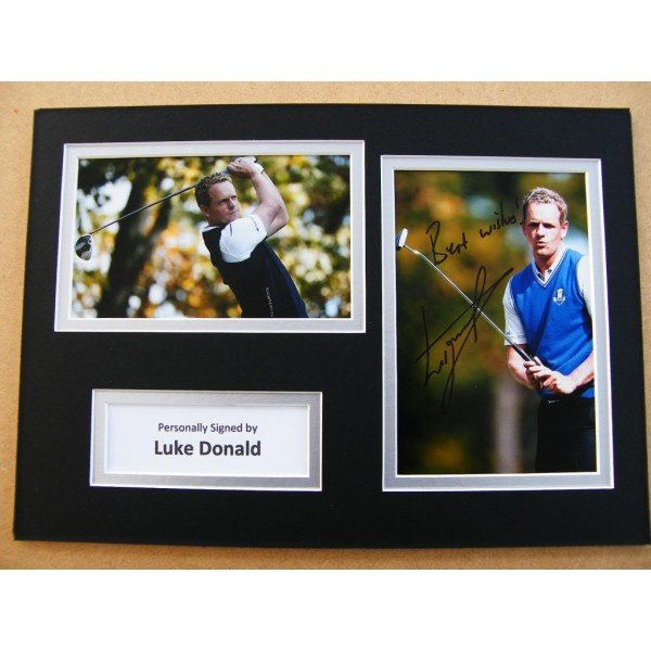 LUKE DONALD HAND SIGNED AUTOGRAPH A4 PHOTO DISPLAY & COA GOLF RYDER CUP OPEN