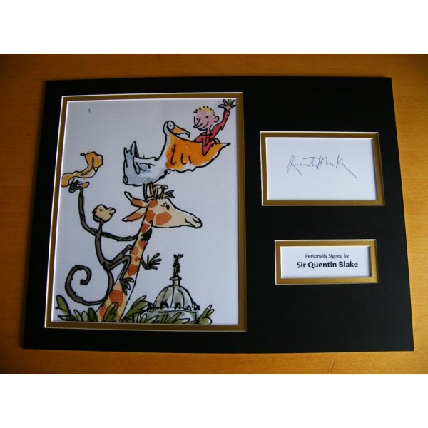 QUENTIN BLAKE HAND SIGNED AUTOGRAPH 16x12 PHOTO MOUNT DISPLAY ART CARTOON & COA