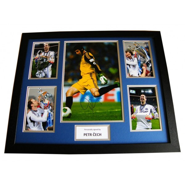 PETR CECH HAND SIGNED & FRAMED HUGE PHOTO MOUNT DISPLAY CHELSEA GOALKEEPER & COA
