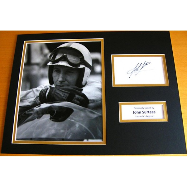 JOHN SURTEES HAND SIGNED AUTOGRAPH 16x12 PHOTO MOUNT DISPLAY FORMULA 1 & COA