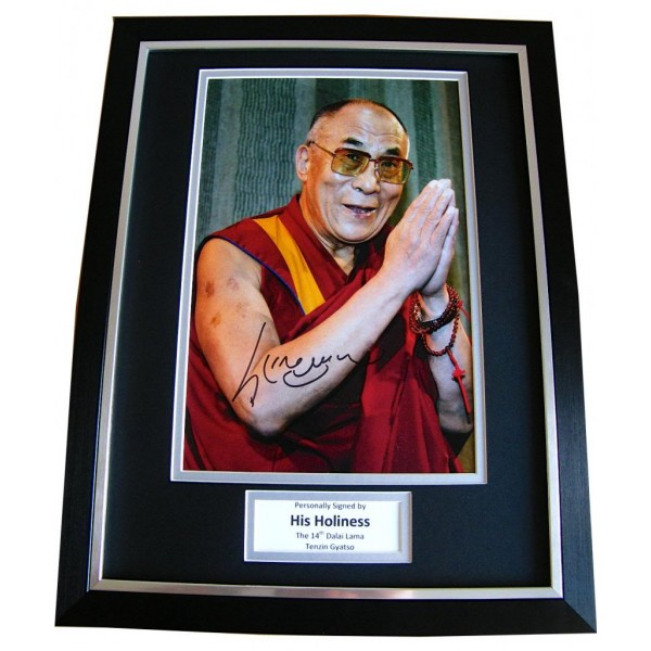DALAI LAMA SIGNED & FRAMED AUTOGRAPH PHOTO MOUNT DISPLAY TENZIN GYATSO & COA