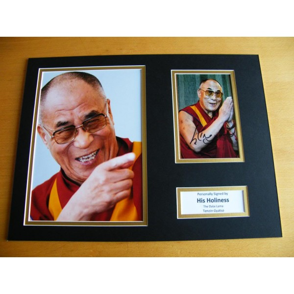 DALAI LAMA SIGNED AUTOGRAPH 16x12 PHOTO MOUNT TENZIN GYATSU  & COA