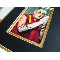 DALAI LAMA SIGNED AUTOGRAPH 16x12 PHOTO MOUNT TENZIN GYATSU  & COA