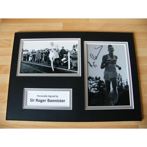 ROGER BANNISTER HAND SIGNED AUTOGRAPH A4 PHOTO DISPLAY & COA