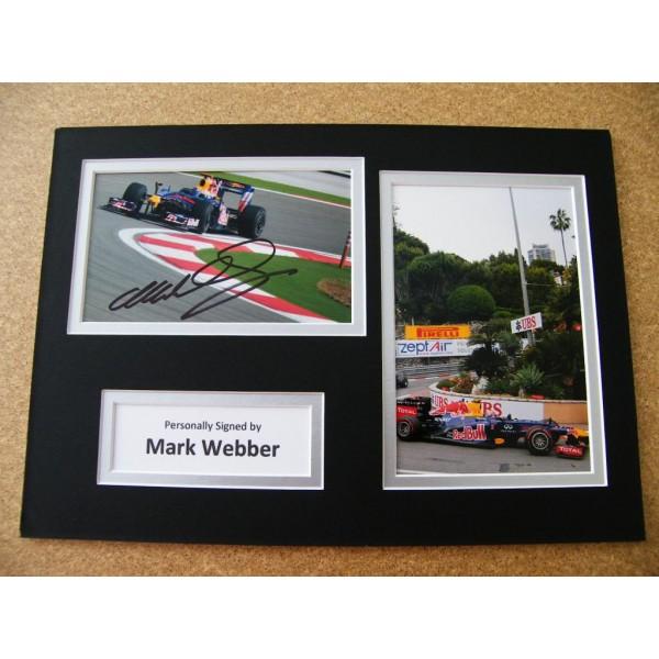 MARK WEBBER HAND SIGNED AUTOGRAPH A4 PHOTO DISPLAY & COA FORMULA 1 RACING