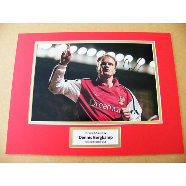 DENNIS BERGKAMP HAND SIGNED AUTOGRAPH 16x12 PHOTO MOUNT ARSENAL SEE PROOF & COA
