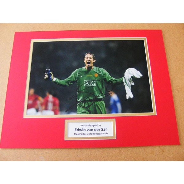 EDWIN VAN DER SAR HAND SIGNED AUTOGRAPH 16x12 PHOTO MOUNT MAN UNITED & COA