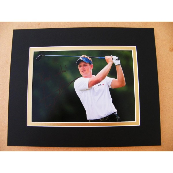 LUKE DONALD GENUINE HAND SIGNED AUTOGRAPH 10X8 PHOTO MOUNT GOLF CHAMPION & COA