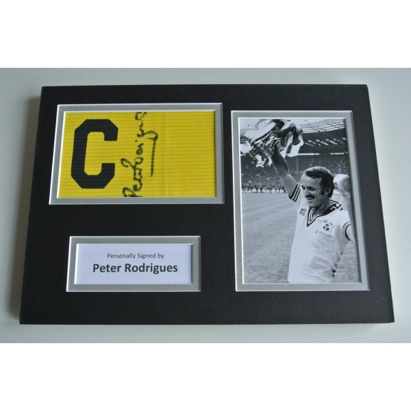 Peter Rodrigues SIGNED Captains Armband A4 Photo Display Southampton COA & AFTAL  Memorabilia PERFECT GIFT