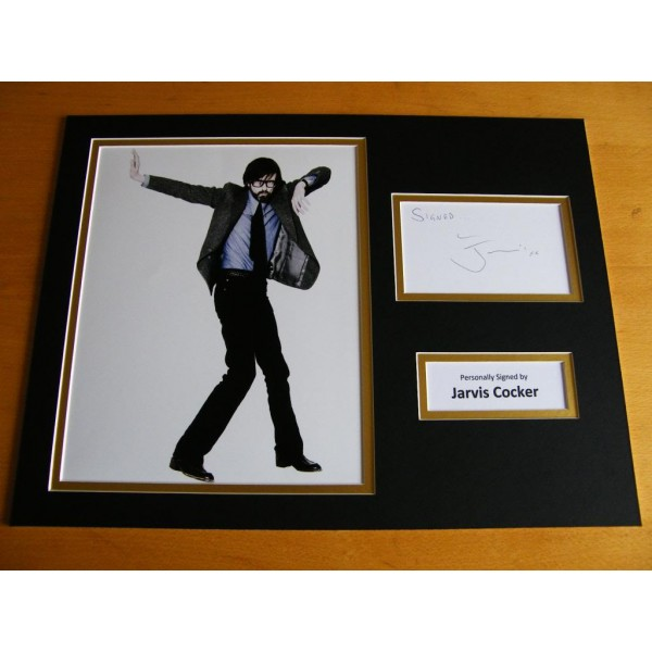 JARVIS COCKER GENUINE HAND SIGNED AUTOGRAPH 16x12 PHOTO MOUNT DISPLAY PULP & COA