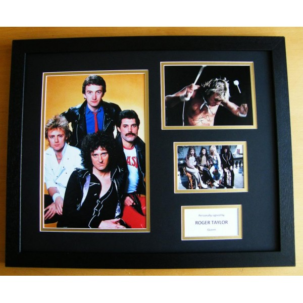 ROGER TAYLOR SIGNED & FRAMED HUGE PHOTO MOUNT DISPLAY QUEEN DRUMS POP/ROCK & COA