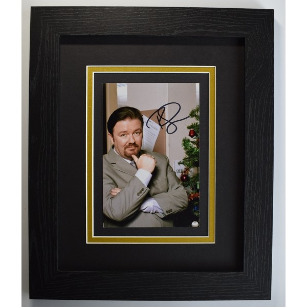 Ricky Gervais Signed 10x8 Framed Autograph Photo Display The Office TV COA Perfect Gift Memorabilia