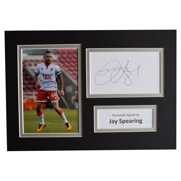 Jay Spearing Signed Autograph A4 photo display Blackpool Football AFTAL COA Perfect Gift Memorabilia