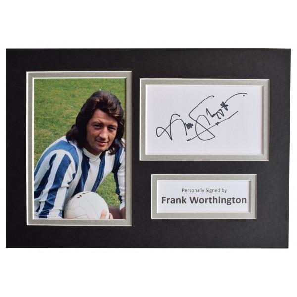 Frank Worthington Signed Autograph A4 photo display Huddersfield Football COA Perfect Gift Memorabilia