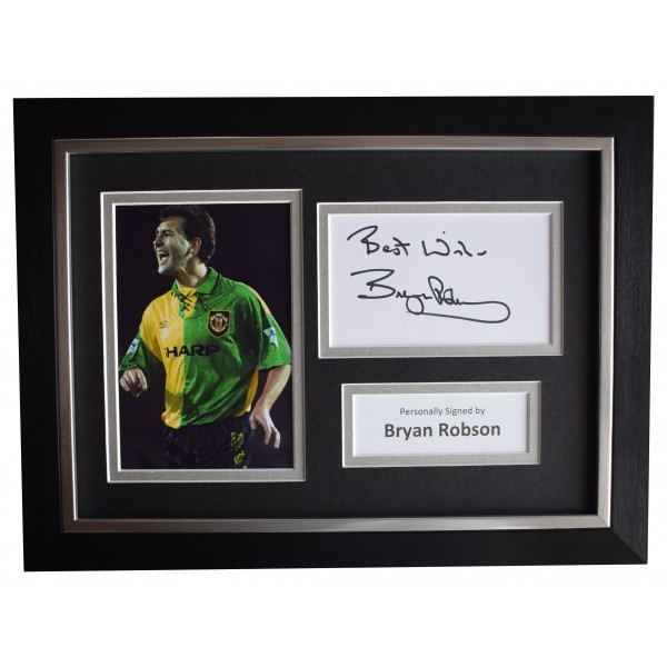 Bryan Robson Signed A4 Framed Autograph Photo Display Manchester United COA Perfect Gift Memorabilia