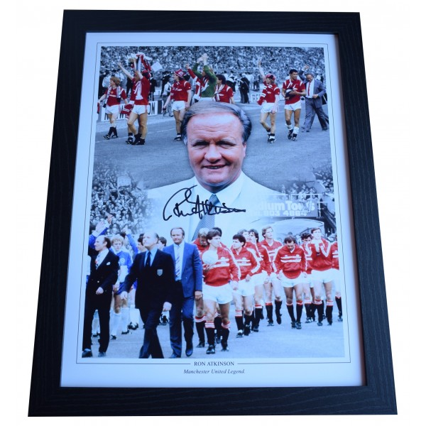 Ron Atkinson Signed Autograph 16x12 framed photo display Manchester United COA  Perfect Gift Memorabilia
