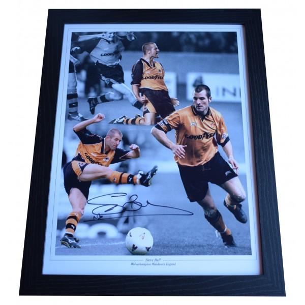 Steve Bull Signed Autograph 16x12 framed photo display Wolves Football AFTAL COA Perfect Gift Memorabilia